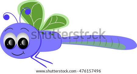Clip art image of a cartoon dragonfly.