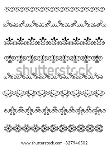 Clip art / line art collection of different decorative page dividers / border - stock photo