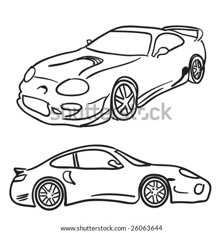 Clip art sports car drawings isolated over white in vector format