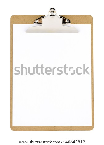 Clip board and paper
