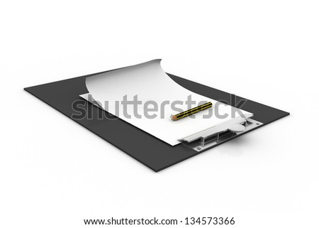 Clip board and papers isolated on white background - stock photo