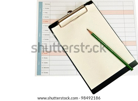 Clip board and papers with clipping path - stock photo