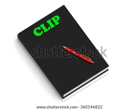 CLIP- inscription of green letters on black book on white background