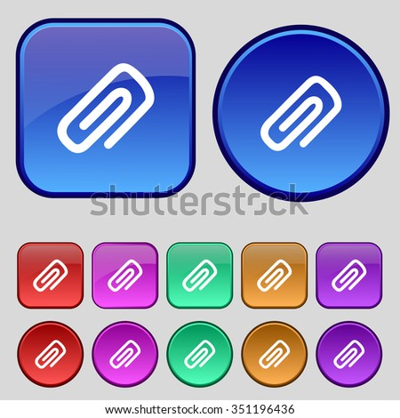 clip to paper icon sign. A set of twelve vintage buttons for your design. illustration - stock photo