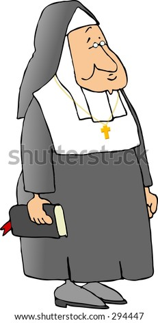 Clipart illustration of a Catholic Nun