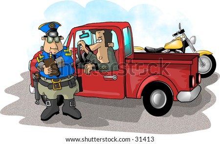 Clipart illustration of a cop giving a ticket - stock photo