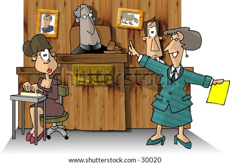 Clipart illustration of a courtroom scene.