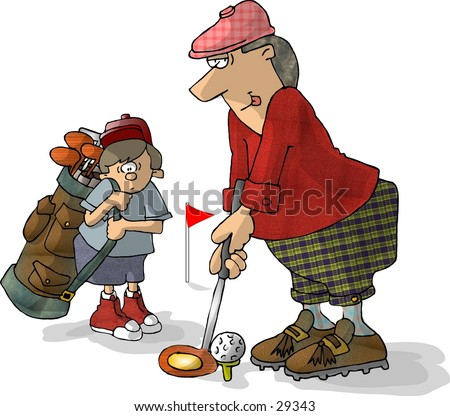 Clipart illustration of a golfer with his caddy looking on. - stock photo
