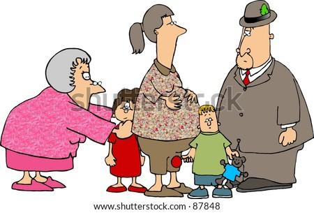 Clipart illustration of a Mom, 2 kids, Grama & Grandpa - stock photo