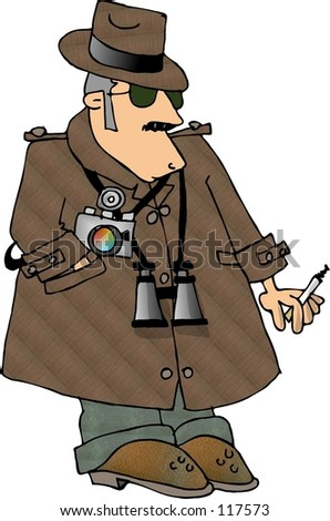 Clipart illustration of a Private Investigator