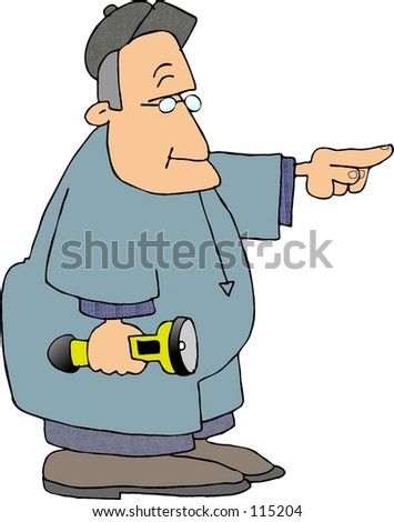 Clipart illustration of a workman pointing