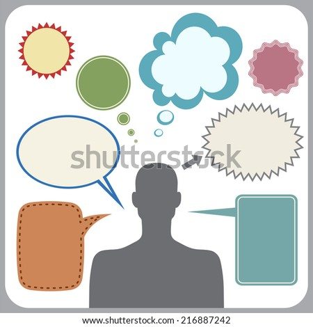 Clipart of man with speech bubbles. Raster version - stock photo