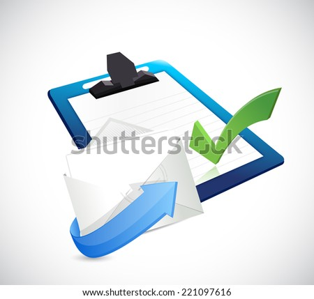 clipboard and email illustration design over a white background - stock photo
