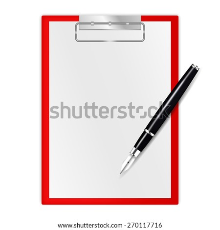 Clipboard and fountain writing pen. Isolated on white background. Raster version - stock photo