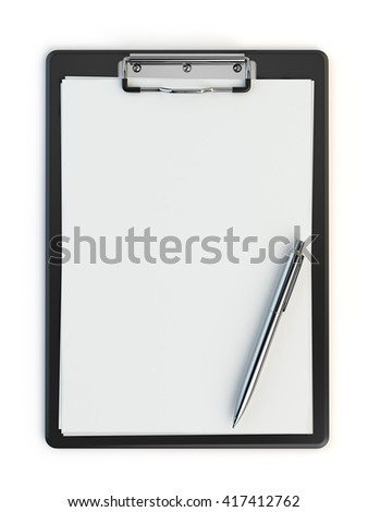 Clipboard and pen isolated on white with copy space. 3d illustration