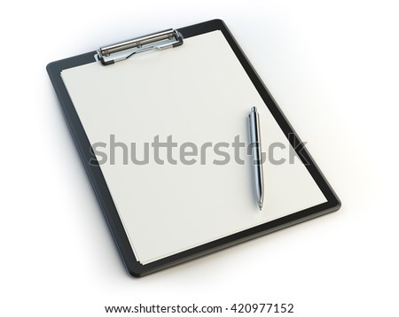 Clipboard and pen isolated on white with copy space. 3d illustration - stock photo