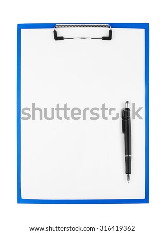 Clipboard Blank with pan isolated on white background