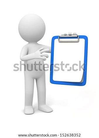 clipboard/3D little human character holding a clipboard with check list - stock photo