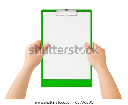 Clipboard in hands isolated on white background - stock photo