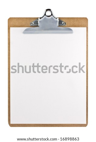 Clipboard with a sheet of paper isolated on white background with clipping path. - stock photo