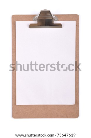 Clipboard with a sheet of white paper isolated on white background - a series of CONSTRUCTION IMAGES.