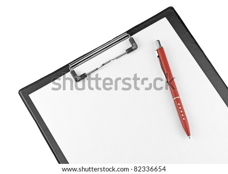 Clipboard with blank paper and pen. isolated on white. - stock photo