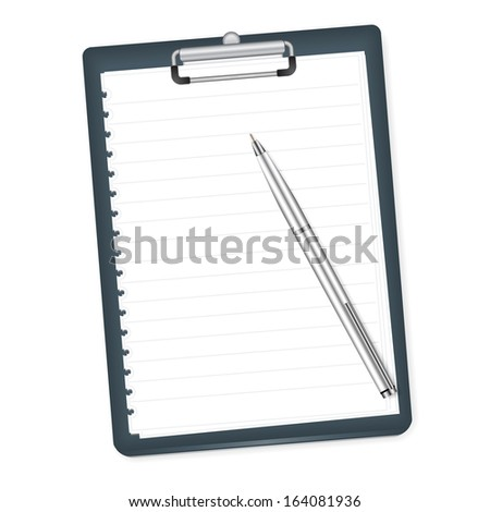 Clipboard with blank paper and pen on a white background. Raster version - stock photo
