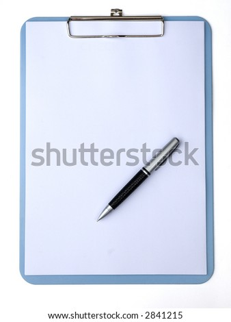 clipboard with blank paper for messages and a pen