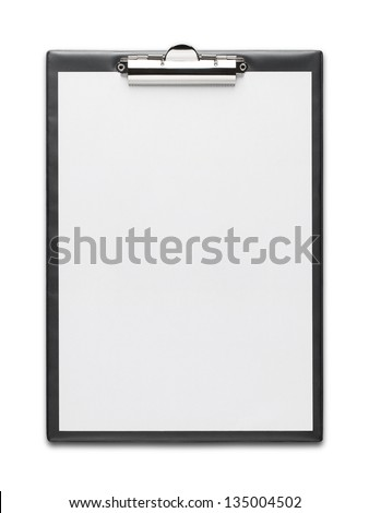 Clipboard with blank paper sheet isolated on white background with clipping path