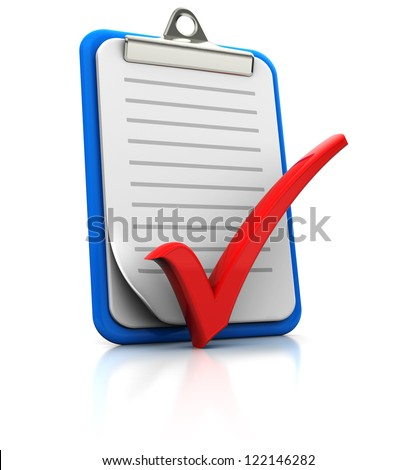 Clipboard with checkmark on white background, 3d image - stock photo