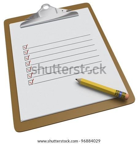 Clipboard with lines and check boxes and stubby pencil on white background