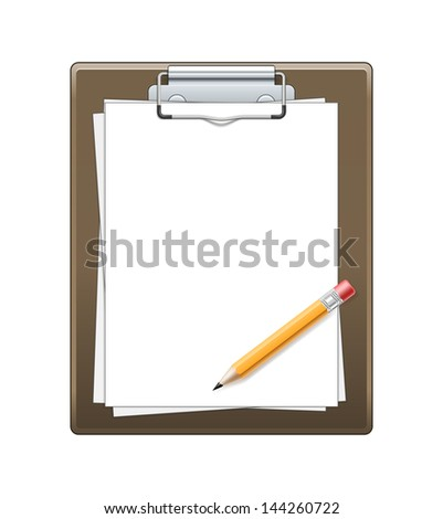 Clipboard with paper and pencil isolated on white background. See also vector version
