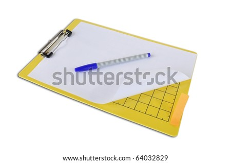 Clipboard with Papers and blue pen on White isolate Background - stock photo