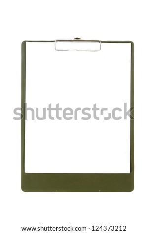 clipboard with sheets of white paper isolated on white background - stock photo