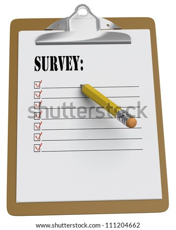 Clipboard with Survey message and stubby pencil on white background