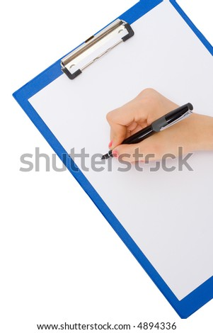 clipboard with the handle and a sheet of a paper on an isolated background - stock photo