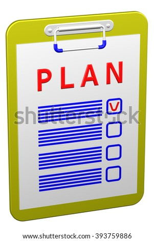 Clipboard with word plan, isolated on white background.
