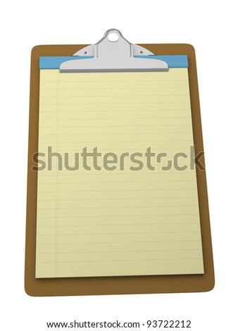 Clipboard with yellow legal block for taking notes