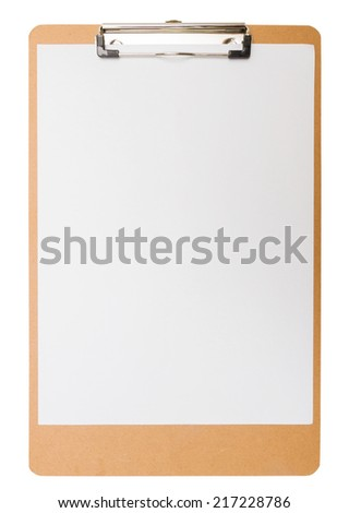 clipboard wooden  isolated on white background
