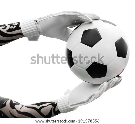 Cliping path include. Goalkeeper (termed goaltender, netminder, goalie) is a designated player charged with directly preventing the opposing team from scoring by intercepting shots at goal. - stock photo