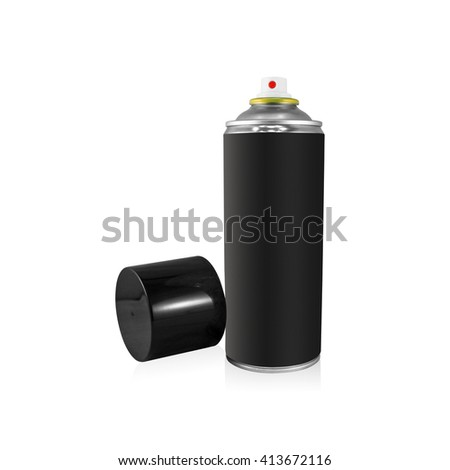 Clipping path black spray can on isolated background. Blank chemical package for your design. - stock photo