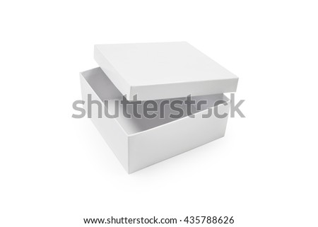 Clipping path empty box on white background. Blank carton product package. Blank object for your design. - stock photo