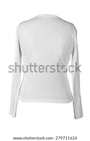 clipping path for white t-shirt shot from back side - stock photo