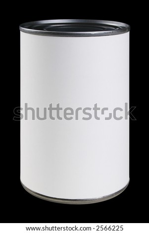 CLIPPING PATH included. Blank can label awaits your message or graphics. - stock photo
