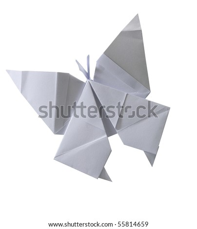 clipping path of paper folded into a butterfly. - stock photo