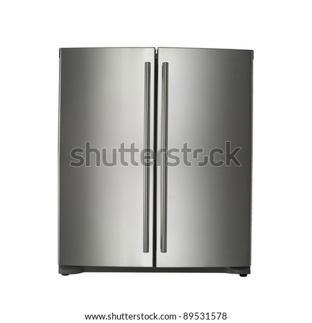 clipping path of the double door freeze - stock photo