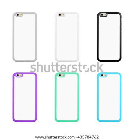 Clipping path phone case on white background. Colorful protector for your smartphone. Blank object for your design. - stock photo
