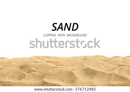 Clipping path sand on white background. - stock photo