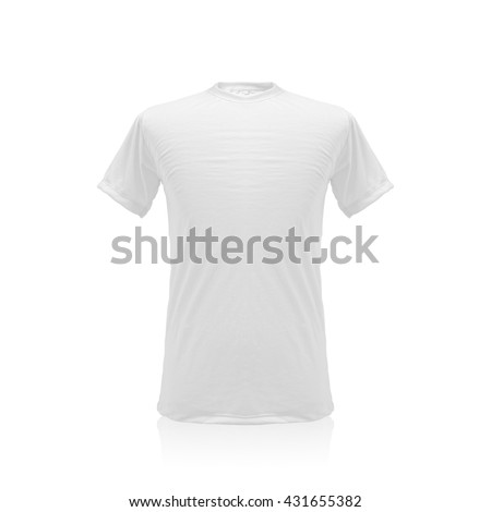 Clipping path white t-shirt on isolated background. Blank cotton textile uniform mockup template. Empty object for your design.