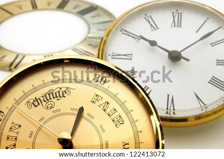 Clock and barometer dials or bezels - stock photo